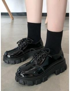 Plain Patent Leather Platform Short Boots - Black Eu 37
