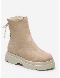 Plain Lace Up Back Suede Platform Boots - Beige Eu 39