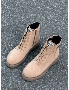 Buckle Accent Lace Up Cargo Boots - Apricot Eu 39