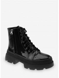Plain Patent Leather Platform Ankle Boots - Black Eu 40