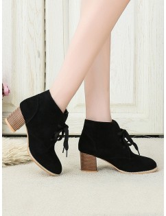 Chunky Heel Lace-up Decorated Boots - Black Eu 36