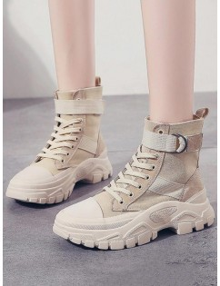 Casual Leather Trim Platform Short Boots - Beige Eu 38