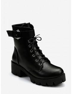 Plain Chunky Heel Lace Up Short Boots - Black Eu 38