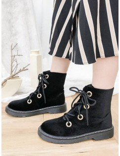 Leisure Outdoor High Top Lace Up Boots - Black 37