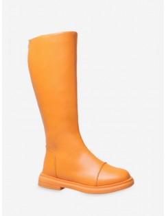 Neon Plain Low Heel Knee High Boots - Tiger Orange Eu 36