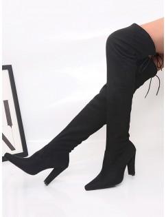 Plain Pointed Toe High Heel Thigh High Boots - Black Eu 39