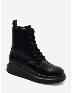 Plain Round Toe Platform Ankle Boots - Black Eu 37