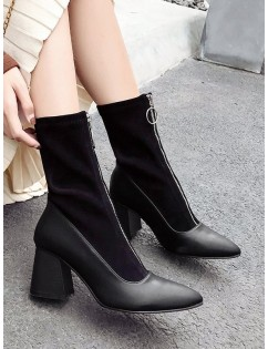 Front Zip Chunky Heel Pointed Toe Patch Boots - Black Eu 38