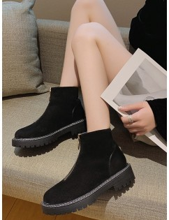 O-ring Front Zip Low Heel Ankle Boots - Black Eu 39