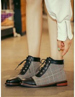 Leather Trim Houndstooth Ankle Boots - Light Khaki Eu 40