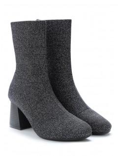 Glitter Stretchy Sock Mid Calf Boots - Silver Eu 40