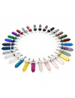 30 Pcs Bullet Shape Healing Pointed Chakra Gemstone Pendants Quartz Crystal Stone Charm for Necklace Making