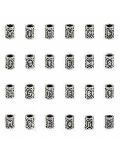 24 Pcs/Set Norse Viking Runes Charms Beads Findings Pendants For DIY Necklace Bracelet Hair Jewelry
