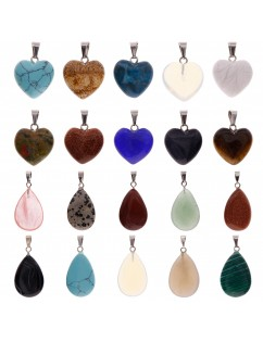 20 Pcs Heart and Waterdrop Stone Pendants Assorted Color Chakra Beads Crystal Charms for Jewelry Making
