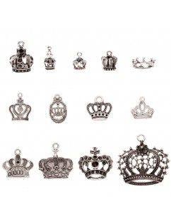 25 Pcs Vintage Silver Plated Multi-style Crown Charms Pendants Set for DIY Necklace Jewelry Handmade Making Accessaries