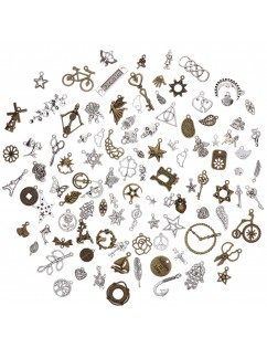 100 Pcs/Set Lots Tibetan Silver Bronze Mixed Styles Charms Pendants DIY Jewelry for Necklace Bracelet Making Accessaries