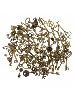 100 Pcs Antique Bronze Assorted Key Theme Charms Pendants Set for DIY Necklace Jewelry Handmade Making Accessaries