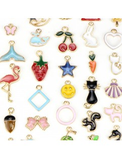 30 Pcs/Set Lots Enamel Cute Styles Charm Pendants DIY Jewelry for Necklace Bracelet Craft Findings Making