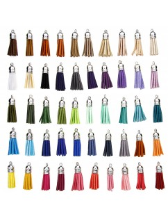 100 Pieces 50 Colors 40 mm Leather Tassel Pendants Faux Suede Tassel with Caps for Key Chain Straps DIY Accessories
