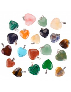 20 Pieces Heart Shape Stone Pendants Chakra Beads DIY Crystal Charms, 2 Different Sizes, Assorted Color