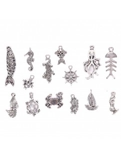 100 Pcs/Set Lots Tibetan Silver Mixed Styles Animals Charm Pendants DIY Jewelry for Necklace Bracelet Craft Findings