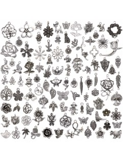 100 Pcs/Set Lots Tibetan Silver Mixed Styles Charms Pendants DIY Jewelry for Necklace Bracelet Making Accessaries