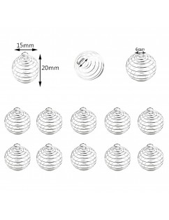 10 Pieces Silver Plated Spiral Bead Cages Pendants for Jewelry Craft Findings Making 15x20mm