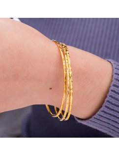 1 Pc Women's Luxury Dubai Gold Bangle 2mm Thin Bracelet Fashion Caved Jewelry GIft