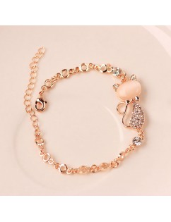 2018 Womens Ladies Crystal Rhinestone Cat Bangle Ocean Blue Bracelet Chain Opals Jewelry
