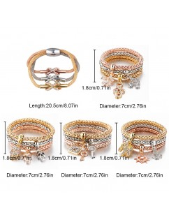 3 Pcs/Set New Crystal Butterfly Heart Lock & Key Shape Pendant Multi-layer Elastic Bracelet Bangle Punk Jewelry