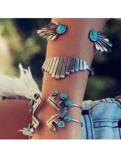 4Pcs Set Women Boho Gypsy Silver Plate Bracelets Turquoise Gem Stone Cuff Bangle Jewelry
