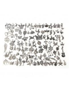 100 Pcs/Set Lots Tibetan Silver Mixed Styles Charm Pendants DIY Jewelry for Necklace Bracelet