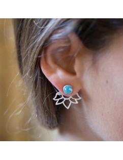 1 Pair New Turquoise Natural Stone Ear Stud Simple Lotus Flower Earrings Jewelry