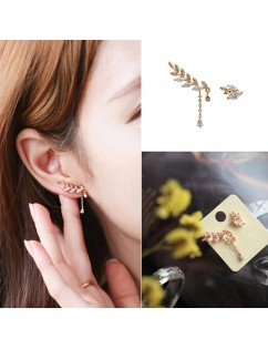 1 Pair New Women Asymmetry Leaves Crystal Rhinestone Ear Studs Drop Earrings