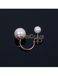 1/2Pairs Charm Elegant Pearl Golden Earring Ear Studs For Woman Lady Gold Silver