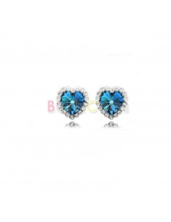 1 Pair Fashion Titanic Heart of Ocean Crystal Gem Heart Earring
