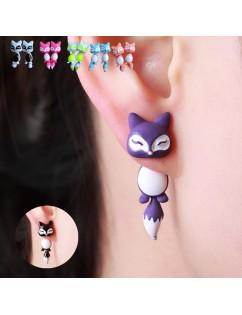 1Pc 3D Women Kids Colorful Ceramic Fox Animal Ear Stud Earrings Cartoon Jewelry