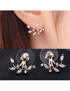 1 Pair Fashion Vintage Rhinestone Leaves Ear Studs Screw Back Women  Earrings