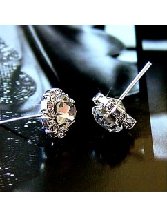 1 Pair New Fashion Women Silver Elegant Crystal Rhinestone Ear Stud Earrings