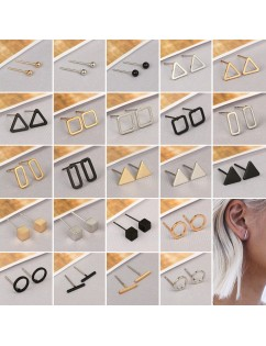 1 Pair Simple Geometric Ball Triangular Square Ear Stud Earrings Women's Fashion Jewelry Gift