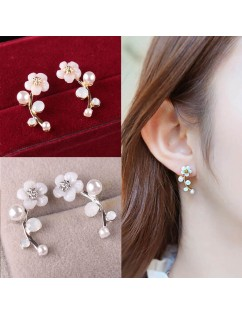 1 Pair Fashion Elegant Crystal Rhinestone Leave Pearl Ear Stud Earrings Women's Lady Fashion Jewelry Gift