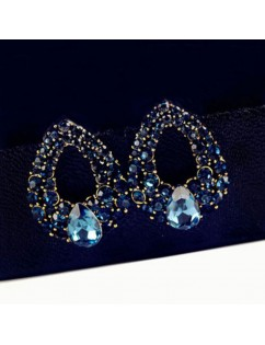 1 Pair Fashion Women Elegant Blue Crystal Rhinestone Ear Stud Earrings Jewelry