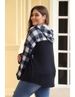 Black Plaid Patchwork Plus Size Hoodie