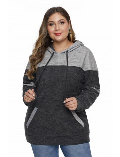 Black Color Block Pullover Plus Size Hoodie with Pocket
