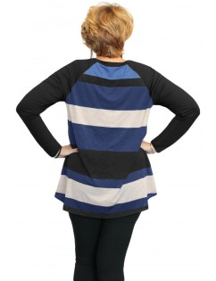 Black Multi Colorblock Raglan Sleeve Plus Size Women Top