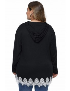 Black Plus Size Supersoft Hoodie Sweatshirt With Lace Trim