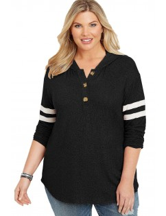 Black Plus Size Long Sleeve Pullover Hoodie
