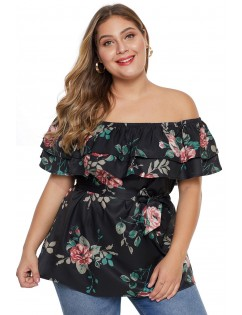 Black Plus Size Floral Tiered Off the Shoulder Top