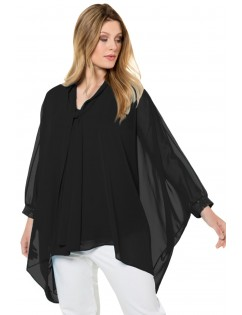 Black Long Sleeve Chiffon Overlay Plus Size Blouse