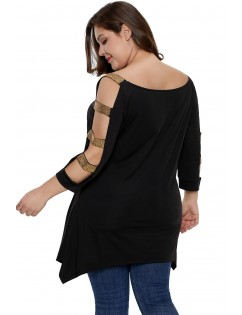 Black Plus Size Rhinestone Cutout Sleeve Top